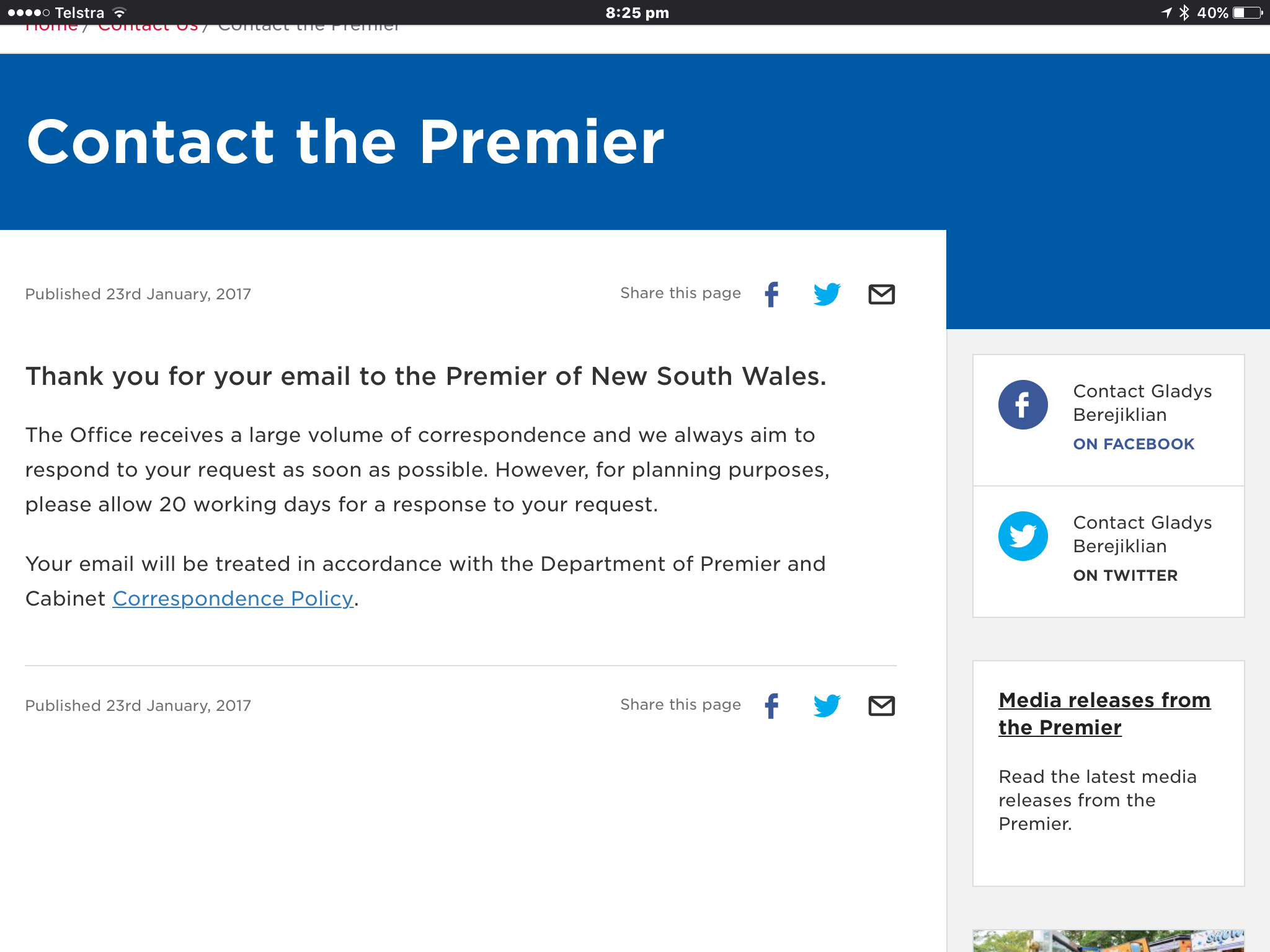 I Have Contacted The Premier About The Hmha City Of Sydney